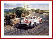 Mercedes SLR 722 Mille Miglia 1955 Moss Autogramm POSTER