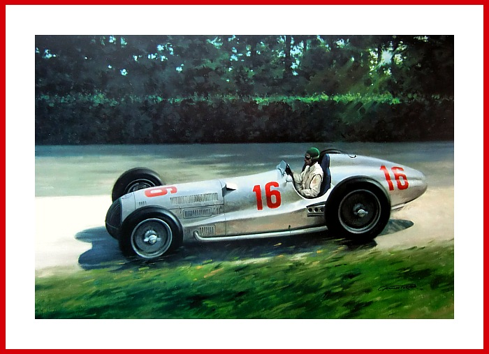 Poster Shooting Star Richard Seaman Mercedes Nuerburgring 1937