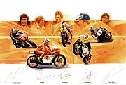 POSTER 500cc Motor cycle Champions 1  signed 5 times by drivers