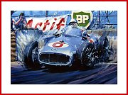POSTER Moss Mercedes W 196 F1 Monte Carlo 1955